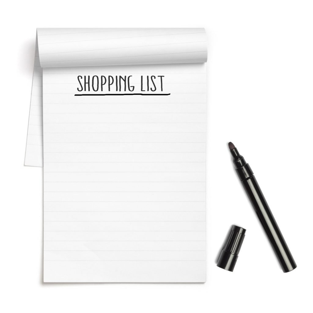Making a shopping list of only the items you need can help you spend less on food.