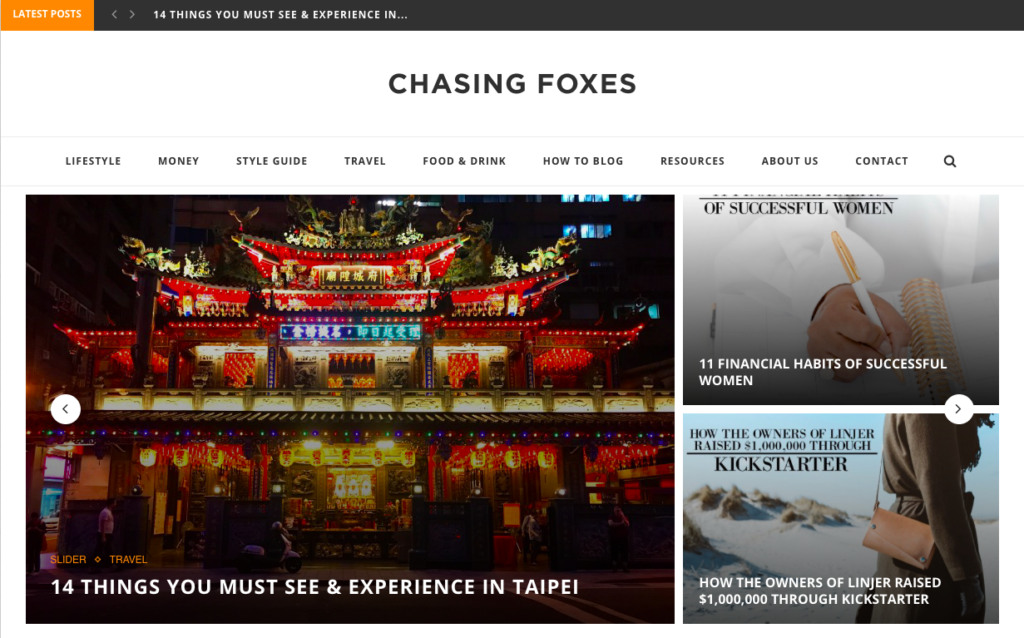 Chasing Foxes is one of our 3 blogger success stories