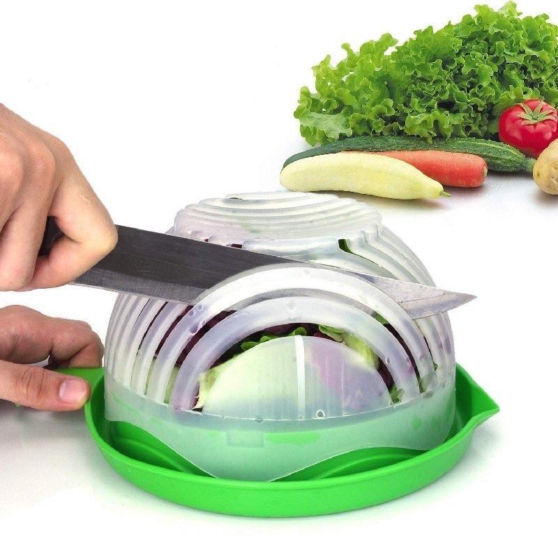 Save time with the salad cutter bowl