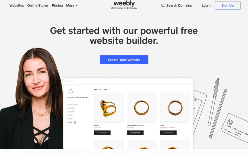 Weebly is a good starting point for easy set up
