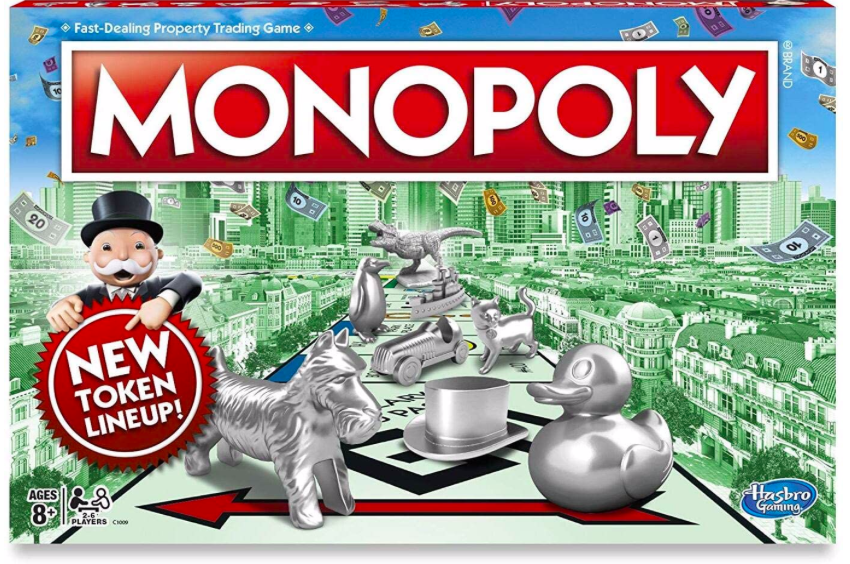Fun board games like Monopoly help pass the time at home