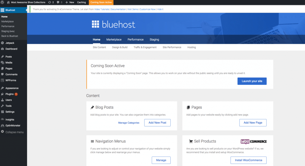 The dashboard where you can work on your blog