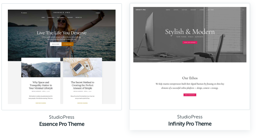 Examples of blog themes from Studio Press